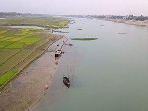 Mahananda River - Mahananda river- view from captain mohiudding jahangir( bir shreshtha) bridge at Nawabganj district