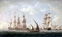 Mahratta pirates attacking the sloop 'Aurora', of the Bombay Marine, 1812; beginning of the action.jpg