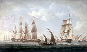 Maratha Navy - Mahratta Grabs and Gallivats attacking the sloop Aurora of the Bombay Marine.