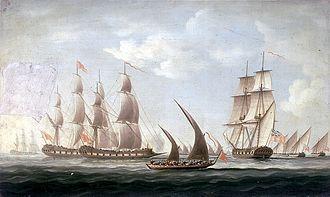 Maratha Navy - Mahratta Grabs and Gallivats attacking the sloop Aurora of the Bombay Marine.