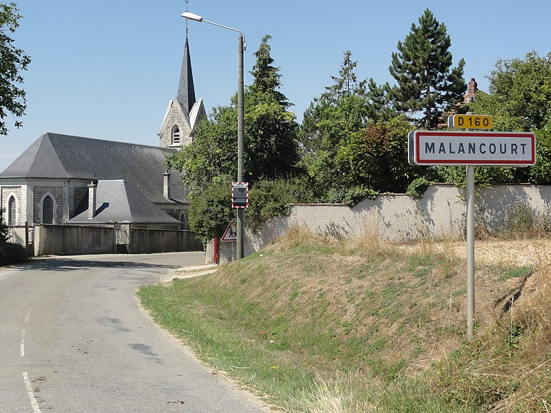 Malancourt (Meuse) city limit sign