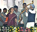 Manmohan Singh and the Chairperson, National Advisory Council, Smt. Sonia Gandhi at the Dussehra celebrations, at Ramleela Maidan on the auspicious occasion of Vijay Dashmi, in New Delhi on October 06, 2011.jpg