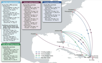 Transportation in Puerto Rico - Map of Jones Act carrier routes for Puerto Rico.