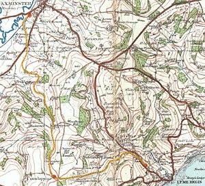 Lyme Regis branch line - Image: Map Axminster Lyme