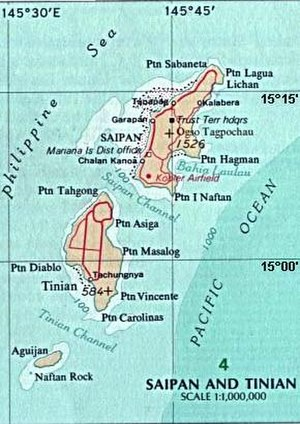 Tinian - Tinian on an area map, southwest of Saipan, showing waters around islands, and deeper Pacific section.