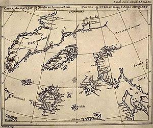 Phantom island - The Zeno map of 1558 showing Frisland – a phantom island in the North Atlantic