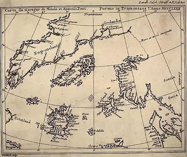 """Zeno-kartet fra 1558. Gjengitt etter Henrich Peter von Eggers, """"Priisskrift om Grønlands Østerbygds sande Beliggenhed"""" (1793). Commons."""