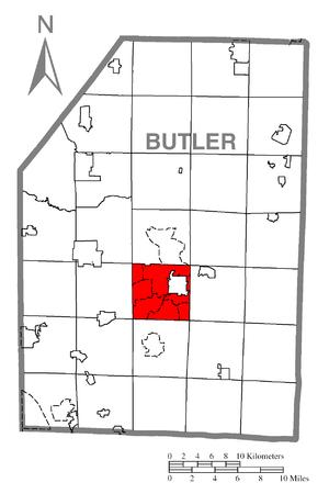 Butler Township, Butler County, Pennsylvania - Image: Map of Butler Township, Butler County, Pennsylvania Highlighted