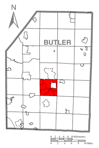 Butler Township, Butler County, Pennsylvania - Image: Map of Butler Township, Butler County, Pennsylvania Highlighted