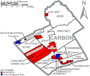 Carbon County, Pennsylvania - Map of Carbon County, Pennsylvania with Municipal Labels showing Boroughs (red), Townships (white), and Census-designated places (blue).