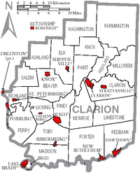 Map of Clarion County Pennsylvania With Municipal and Township Labels.png