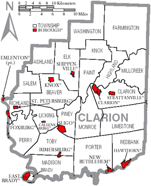 Clarion County, Pennsylvania - Map of Clarion County, Pennsylvania with Municipal Labels showing Boroughs (red) and Townships (white).
