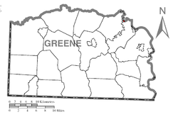 Location of Clarksville in Greene County