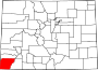 Map of Colorado highlighting Montezuma County.svg