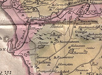 Loans, South Ayrshire - Map showing Loans village in the early 19th century.