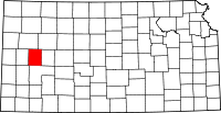 Map of Kansas highlighting Scott County