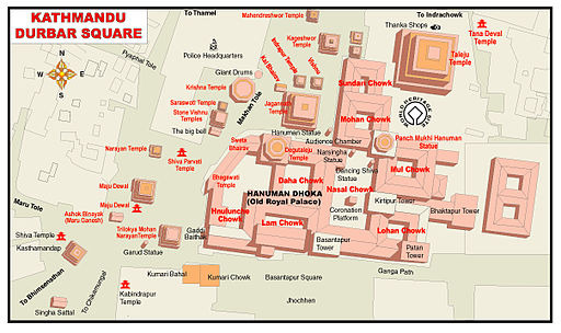 Map of Kathmandu Durbar Square