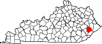 State map highlighting Knott County