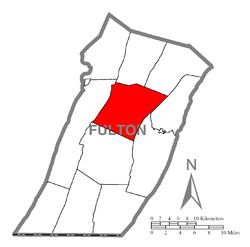 Location of Licking Creek Township in Fulton County