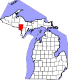 State map highlighting Dickinson County