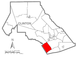 Map of Clinton County, Pennsylvania highlighting Porter Township
