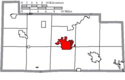 Ubicación de Fremont en el condado de Sandusky