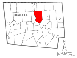 Map of Bradford County with Sheshequin Township highlighted