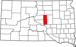 map of South Dakota highlighting Hyde County