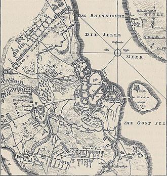Siege of Stralsund (1711–15) - Image: Map of Stralsund and Rügen 1715