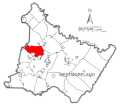 Map of Westmoreland County, Pennsylvania Highlighting Penn Township.PNG