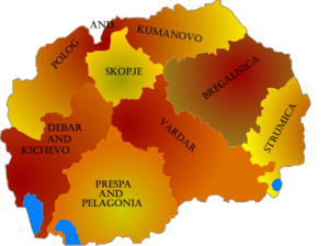 Eparchy of Polog and Kumanovo - Map of the seven eparchies of Orthodox Ohrid Archbishopric in the Republic of Macedonia