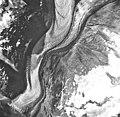 Margerie Glacier, tidewater glacier terminus and hanging glaciers, September 17, 1966 (GLACIERS 5622).jpg