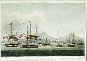 Raid on Batavia (1806) - A painting by Thomas Whitcombe depicting Batavia harbour in 1806.