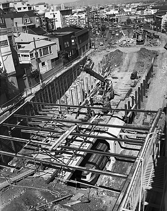 Eureka Valley station - Streetcars run through the closed station in 1973 while the temporary ramps are constructed around it