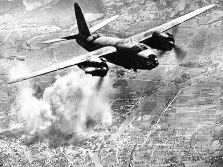 Royal Air Force B-26 flying over Banja Luka during World War II