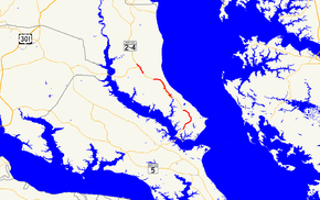 A map of Calvert County, Maryland showing major roads. MD 765 consists of multiple sections along MD 2 throughout the county, with the three longest sections highlighted on the map.