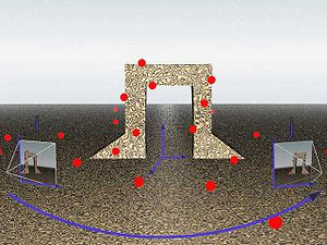 Match moving - An illustration of feature projection. Around the rendering of a 3D structure, red dots represent points that are chosen by the tracking process. Cameras at frame i and j project the view onto a plane depending on the parameters of the camera. In this way features tracked in 2D correspond to real points in a 3D space. Although this particular illustration is computer-generated, match moving is normally done on real objects.
