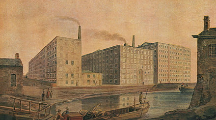 Cotton mills in Ancoats about 1820 McConnel & Company mills, about 1820.jpg