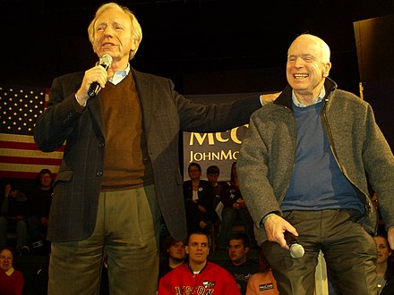 Lieberman with Presidential Candidate John McCain at an event in Derry, New Hampshire Mccainliebermann.JPG