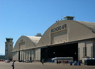 McChord Field - Main hangar and control tower in July 2005