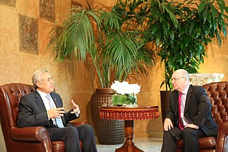 Baabda Palace - His Excellency former Lebanese President Michel Suleiman (2008–2014) meeting with U.K. Foreign Office Minister for the Middle East Alistair Burt in Baabda Palace, 14 July 2010.
