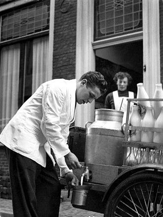 Milkman - Dutch milkman in Haarlem, 1956