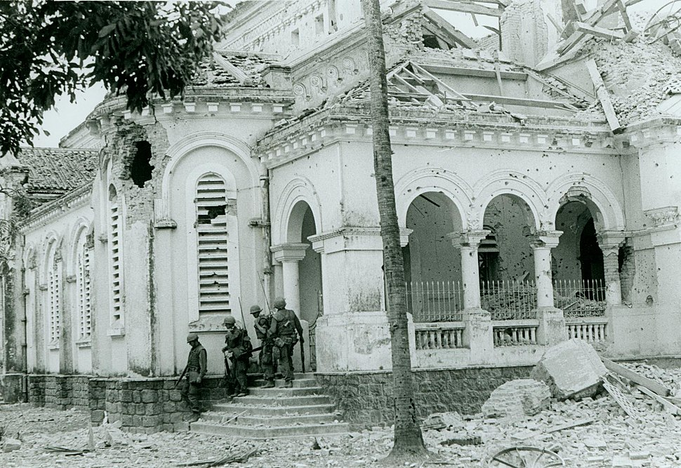 Members of 1st Battalion, 1st Marines Leave Church, February 1968 (15808129653)