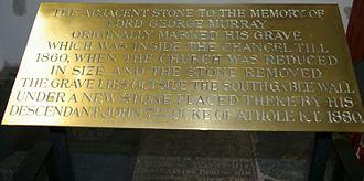 Lord George Murray (general) - Description at gravestone inside Bonifacius-church.