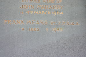 Frank Mears - Memorial tablet to Frank Mears, Warriston Crematorium