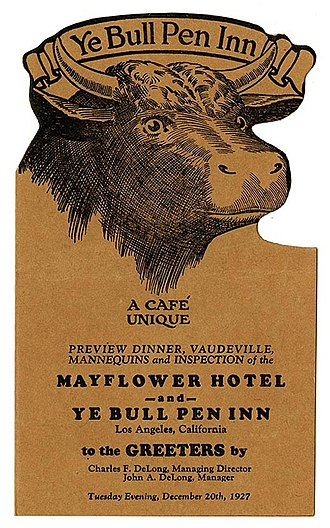 1927 in the United States - Menu, Ye Bull Pen Inn, Los Angeles, 1927
