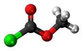 Ball-and-stick model of the methyl chloroformate molecule