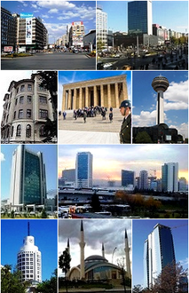 From left to right:1st and 2nd:Views of Kızılay Square , 3rd:The BDDK building, 4th:آنت‌کابیر، 5th:Atakule Tower, 6th:Ankara Intercity Bus Terminal, 7th:Sheraton Ankara, 8th:State Art and Sculpture Museum, 9th:Balgat skyscrapers in Çankaya.