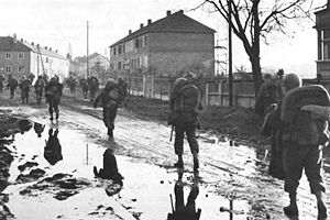 Battle of Metz - Troops of the U.S. 5th Infantry Division entering Metz on 18 November 1944.