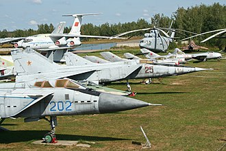 Russian Aircraft Corporation MiG - Various MiG fighter aircraft, from Mig-31 to MiG-9 at Central Air Force Museum Monino